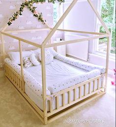 Toddler Floor Bed, Toddler House Bed, Toddler Rooms, House Beds For Kids, Diy Toddler Bed, Floor Bed For Toddler, Bed Ideas For Kids, Toddler Bedding Girl, Toddler Bedroom Ideas