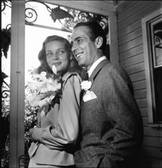Humphrey Bogart and Lauren Bacall on their wedding day May 21, 1945  -  05
