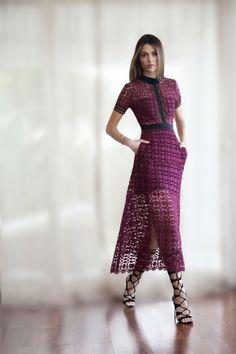 Self-Portrait dress worn by London based fashion Blogger, Maureen Sophie Kragt, paired by black knee-high gladiator sandals from Topshop.