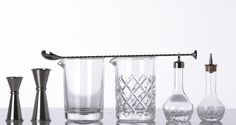Japanese Jiggers, Classic Mixing Glass, Yarai Mixing glass, Mixing Spoon & Bitters Bottles.