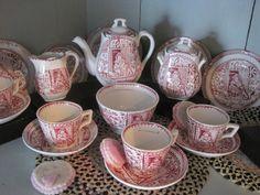"Antique 1800's Childs Toy Pink ""Staffordshire ""Tea Set."