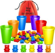 Rainbow counting bears Learning Toys For Toddlers, Toddler Learning, Early Learning, Games For Kids, Teaching Kids, Kids Toys, Toddler School, Pre School, Litter Box Smell