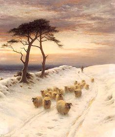 Joseph Farquharson // Sheep in the Snow Canvas Print - Buy Country Paintings, Great Paintings, Beautiful Paintings, Sheep Paintings, Winter Painting, Winter Art, Winter Snow, Snow Scenes, Winter Scenes