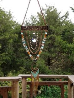 Driftwood Crafts, Wire Crafts, Bead Crafts, Arts And Crafts, Jewelry Crafts, Mobiles, Wind Chimes Craft, Hanging Beads, Gold Glass