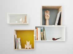The Mini Stacked Shelf System was designed by Julien de Smedt for Muuto. The storage shelves of the Mini Stacked Shelf System and the other Stacked Shelves by Decor, Box Shelves, Shelves, Interior, Home Decor, Storage Shelves, Muuto, Muuto Stacked, Furniture Design
