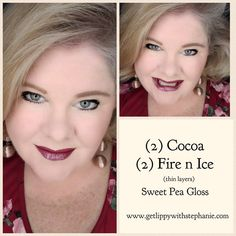 """LipSense Color of the Day: """"Cocoa Fire""""! I love this layered look of 2 think layers of Cocoa with 2 think layers of Fire N Ice...Matches my shirt perfectly!!! Order online at www.GetLippyWithStephanie.com Free Shipping on all orders!! #LipSenseFreeShipping #LipSenseColorCombinations #LipSenseBecomeADistributorForFreeInSeptember #SeneGenceBossBabe Fire And Ice Lipsense, Fire N Ice, Senegence Products, Color Of The Day, Long Lasting Makeup, Layered Look, Color Combinations, Cocoa, Diva"""