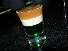#CPirishluck  My favorite drink to make as a bartender for St. Paddy's day drinkers! Called the Irish flag, this drink takes patience to pour as the layering technique is fairly difficult.  Layer 1: Green creme de menthe  Layer 2: Bailey's Irish cream  Layer 3: Jameson Irish whiskey (for that lovely golden color). Not sure what it tastes like but it sells good!