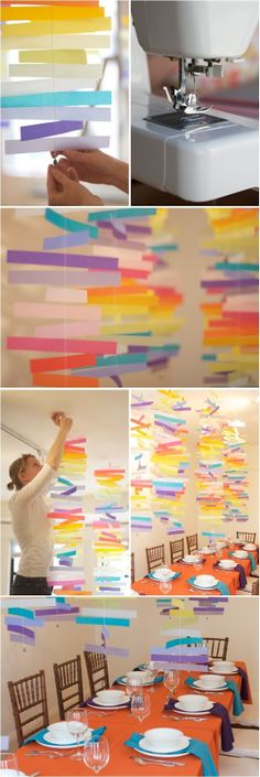 Hanging rainbow paper garland - DIY