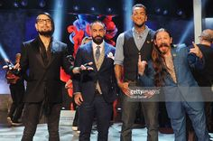 Host Dave Navarro, judge Chris Nunez, tattoo artist Anthony Michaels, and judge Oliver Peck pose on stage after the 'Ink Master' season 7 LIVE finale on May 24, 2016 in New York City.