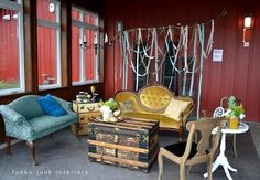 Funky Junk Interiors - Repurposed home decorating with salvaged architecture and reproduction vintage signs. Antique Market, Vintage Market, Flea Market Decorating, Interior Decorating, Decorating Ideas, Gypsy Living, Funky Junk Interiors, Great Rooms, Interior And Exterior