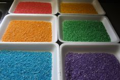 colored rice, cheap and easy! I use water colors & rice (no alcohol or vinegar needed)