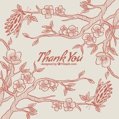 Thank you card with cherry blossoms