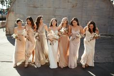 Blush and black wedding Beige Bridesmaids, Neutral Bridesmaid Dresses, Champagne Bridesmaid Dresses, Blush Champagne Wedding, Beige Wedding, Wedding Dress Trends, Wedding Attire, Wedding Dresses, Unicorn Wedding