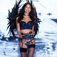 """Lily Aldridge shows the Angel Ball's """"black tie"""" dress code who's boss in sparkly blue. 