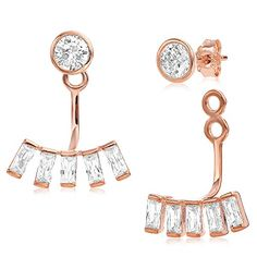 Ear Jacket 2 in 1 Rose 14k Gold Plated-Sterling Silver, CZ AAA Quality Stud and Jacket Earrings Set. Two In one Ear Jacket. Sterling Silver 925 plated with Rose Gold Plating. Classy & Trendy. Weight 2.70 grams. Stud Alone is 5.0mm.