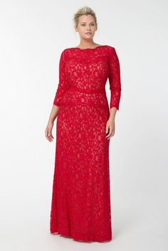 Tadashi Shoji 2013 Plus Size Holiday Collection | The lace at the bottom edge of the peplum is slightly unfortunate in that it gives the lower abdomen a lumpy look.