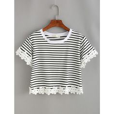 Striped Lace Trimmed Crop T-shirt (39 BRL) ❤ liked on Polyvore featuring tops, t-shirts, white, striped t shirt, polyester t shirts, short-sleeve shirt, white short sleeve shirt and round neck t shirt