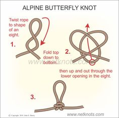 How to tie an Alpine Butterfly Knot with illustrated and animated examples Survival Knots, Survival Skills, Fishing Hook Knots, Sailing Knots, Loop Knot, Knots Guide, Rope Knots, Paracord Projects, Just In Case