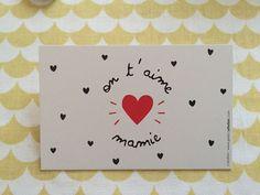 """Mini+carte+""""+On+t'aime+mamie""""+petits+coeurs"""