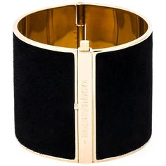 Black and gold brass and calf leather contrasted panel cuff from DSQUARED2 featuring an internal deployant clasp, gold-tone hardware and a front embossed logo …