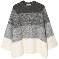 Oversize Wool-Blend Sweater ($49) ❤ liked on Polyvore featuring tops, sweaters, cable-knit sweater, cable knit sweater, ombre top, over sized sweaters and oversized tops