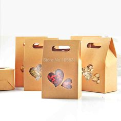 30X Eco friendly kraft paper box 10*15.5cm+6cm with heart window stand up food pouch wedding favors can Customize logo printing-in Event & Party from Home & Garden on Aliexpress.com | Alibaba Group