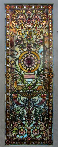 Antique American Stained Glass Door, Attributed to the Ruby Brothers Studios, ca. 1900.