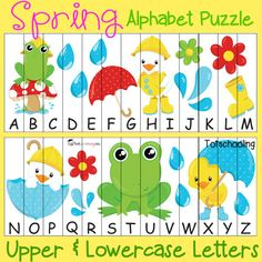 Free Spring Alphabet Puzzle   Totschooling - Toddler and Preschool Educational Printable Activities