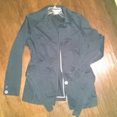 Casual corner belted jacket Really pretty lightweight jacket. Color is navy but its so deep it almost looks black. 4 button closure with belt buckle closure. Great piece!! Perfect condition casual corner Jackets & Coats