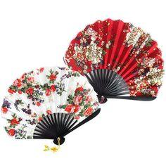 Korea Traditional Oriental Cotton Ramie Fabric Folding Hand Fan Red Ivory #Handmade #Casual