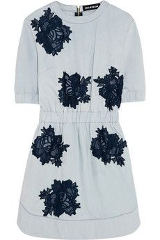 House of Holland Lace-detailed chambray mini dress | NET-A-PORTER