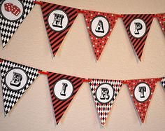Vegas Casino Party Happy Birthday Banner / Red and Black / Poker Night - Printable
