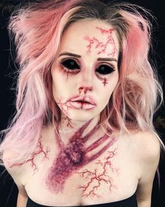 The last throwback until new looks are posted for Halloween! Cool Halloween Makeup, Halloween Inspo, Halloween Looks, Creepy Halloween, Costume Halloween, Horror Makeup, Zombie Makeup, Scary Makeup, Sfx Makeup