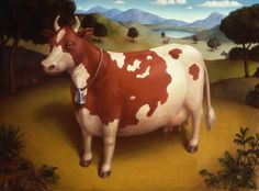 Marion Peck – 1997 – Cow (oil on panel) Marion Peck, Papa Dont Peach, Cow Pictures, Candy Art, Eye Candy, Art Partner, Mark Ryden, Shabby, Magic Realism