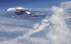 Mass Effect 2 Art & Pictures  Normandy in Clouds