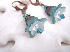 Teal flower earrings with genuine swarovski crystals and antiqued copper components by CherryBlossomMuse, $15.99