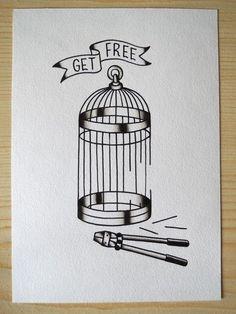 black & white flash art, caged.