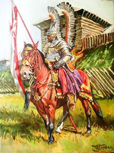 Polish Winged Hussar Guard oil painting by Yaroslav Stroyny Poland