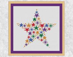 Rainbow stars cross stitch pattern, modern counted cross stitch chart PDF, simple, easy, quick, beginner, baby, girl, boy, magic, printable by Climbing Goat Designs