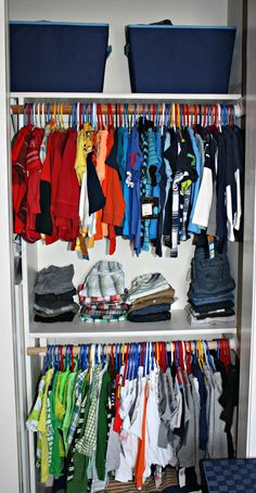 Small Closet Organization For Boy Toddler Room.