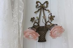 """Hanging Lamp 2 lights of antique lighting France Antique Rose basket"" Kokin-Fuat Coconfouato [Antique & miscellaneous goods] United Kingdom France antique antique antique furniture, antique lighting, antique miscellaneous goods antique jewelry and interior"