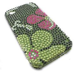 For iPhone 4 (Not for 4s) Full Diamond Green Flower Design Protector Protective Case