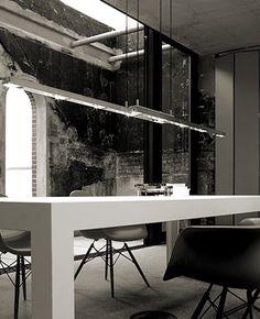 Tender suspension lamp by Anta Interior Work, Interior Architecture, Interior And Exterior, Interior Design, Industrial Interiors, Industrial House, Industrial Office, Industrial Design, Space Interiors