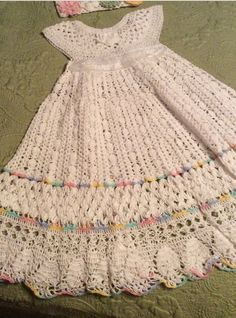 crochet yoked interchangeable flower christening gown pattern