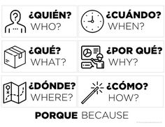 I've got a new Spanish class! - The Comprehensible Classroom Question word page - have these with you when you are teaching Spanish to novices! point to the words when you ask a question to boost comprehension. Spanish Lessons For Kids, Learning Spanish For Kids, Study Spanish, Spanish Lesson Plans, Spanish Language Learning, Learning Italian, French Lessons, Spanish Classroom Activities, Spanish Teaching Resources