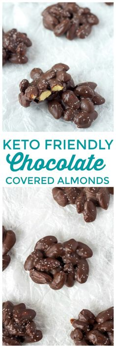 Keto Friendly Chocolate covered almonds are the perfect chocolate keto treat. #keto #chocolate #Lowcarb #Almonds #ChocolateCoveredAlmonds #ChocolateKeto #ChocolateAlmonds
