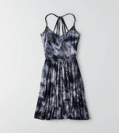 Black AEO Strappy Fit & Flare Dress