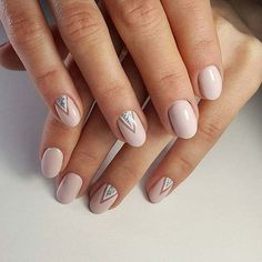 Light Pink Manicure with Glitter Triangle Accent for Glitter Nail Design Idea
