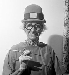 """(♥) Phyllis Diller as a Keystone Cop, New York City, September 1963. From A.P. Images.  """"I gotta rash that's movin' so fast I can hear it."""" RIP Phyllis Diller, an iconic comic who turned self-deprecation into a fine art."""