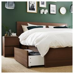 MALM High bed storage boxes - brown stained ash veneer, Lönset (CA) - IKEA Cama Malm Ikea, Ikea Lit Malm, Bed Frame With Storage, Under Bed Storage, Storage Boxes, Storage Spaces, Tv Storage, Extra Storage, Double Bed With Storage